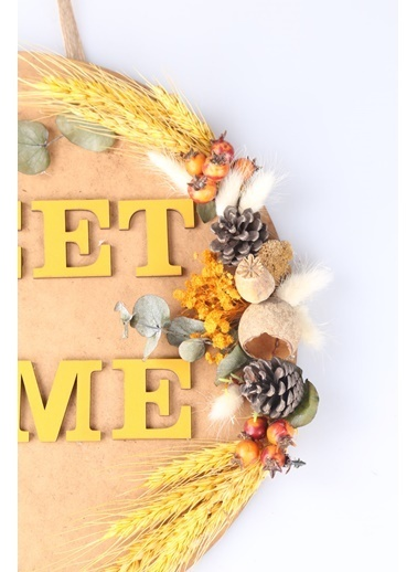 Kibrithane Çiçek Kapı Süsü Sweet Home Kuru Çiçek Aranjman Kc00200755 Renkli